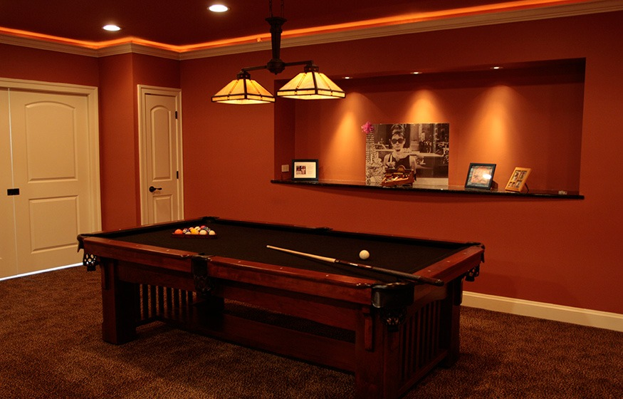 basement finishing with billiard table in haymarket