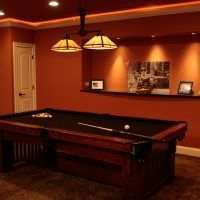 basement finishing with billiard table in haymarket