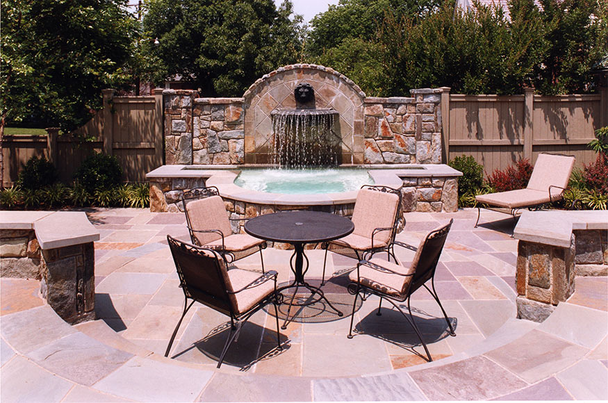 Flagstone Patio and Fountain Construction in Washington, D.C.