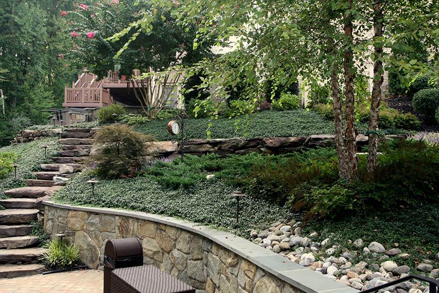 landscaping design at timber lake in oakton