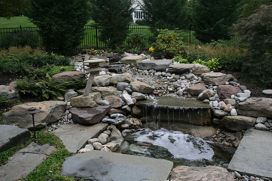 Waterfall Feature Installation in Oakton, VA by Berriz Design Build Group