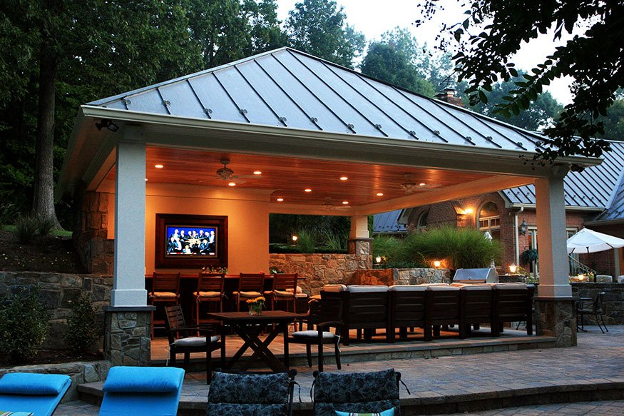Clifton park pool and outdoor kitchen installation for Outdoor cabana designs