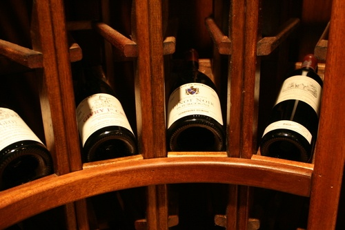 curved rack in wine cellar